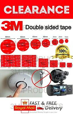 3M Double Sided Self Adhesive Sticky Pads For Dash Cams & Smoke Alarms