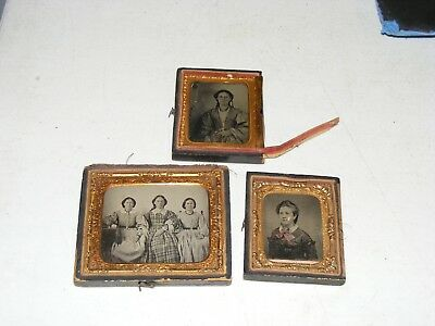(3) Antique Ambrotype Photos with Half Cases Beautiful Dress