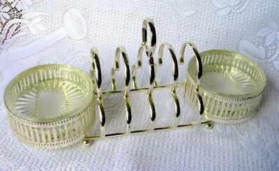 Antique Silverplate English Toast Rack With Pressed Glass Jam & Butter Holders