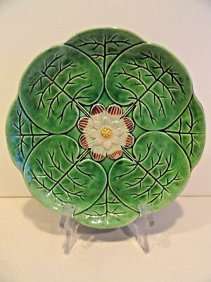 Majolica Water Lily Plate  Antique Compote