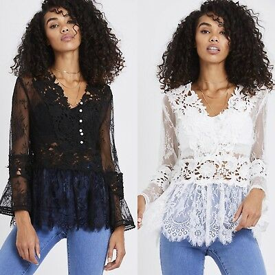 New Women Ladies Summer White Long Sleeve Crochet Floral Lace Top Blouse