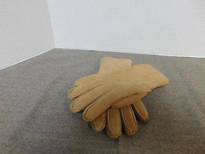 Womans Vintage Tan Suede Leather Gloves Size 7-1/2