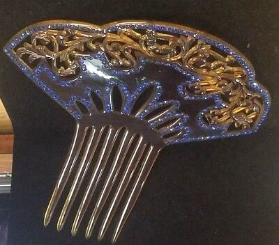 """Early Celluloid Tortoise Shell Color Blue Rhinestone 7"""" Hair Piece Comb  (S3 7)"""