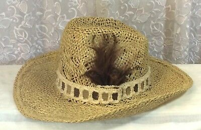 51eb1b8921030 Hush Puppies Western Headwear Straw Hat Feather 7 3 8 Cowboy Embroidered  Vintage