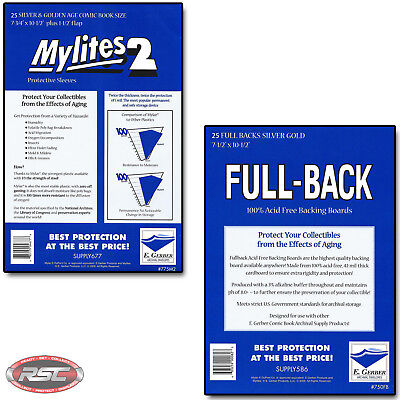 25 - GERBER FULL-BACK & MYLITES 2 SILVER & GOLD Bags & Boards 750FB/775M2 <50
