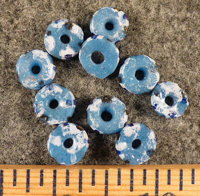 10 Huron Indian Sky Blue Glass False Chevron Trade Beads Fur Trade 1800s