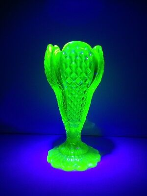 Rare Antique Derbyshire Green Uranium Glass Chalice Goblet Vase Henry Greener
