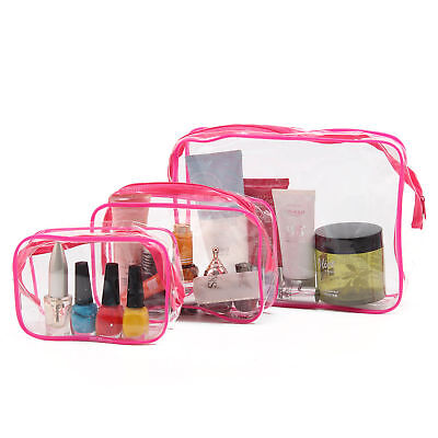 3pcs Waterproof Clear Cosmetic Toiletry PVC Travel Wash Makeup Bag Pouch set UK