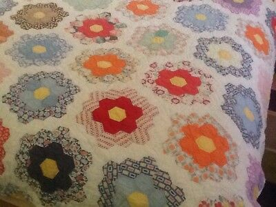 Antique Handmade Grandmas Flower Garden Quilt - Stitched Vintage Hexagon Cutter