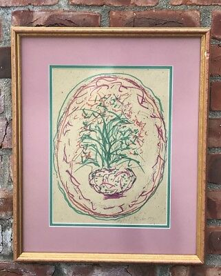 Alabama Outsider Artist Sybil Gibson Floral Still Life Folk Art Painting. Signed