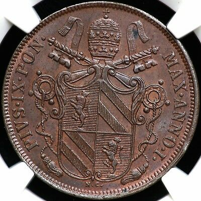1847B Ngc Ms-62 Bn One 1 Baiocco Papal States Italy
