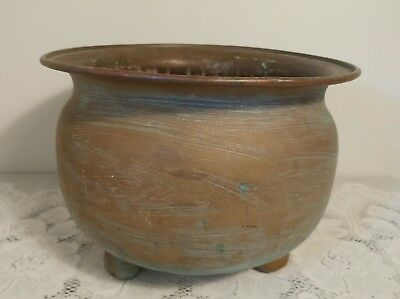 Vintage Large Brass Hammered 3 Footed Pot or Planter w/ *Lots of Patina Quality*