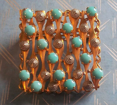 Openwork Goldtone Square Brooch Pin Silvertone Nubs and Blue Prong Set Beads