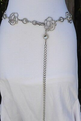 "Openwork Silver Tone Metal Textured Style Rhinestone Chain Belt   45"" long"