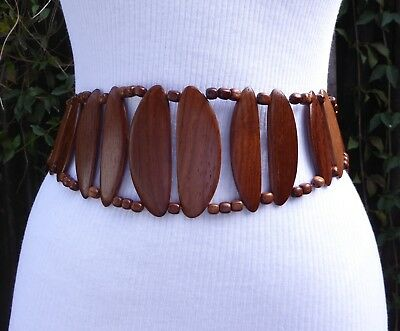 Vtg. Wide Brown Graduated Wooden Bead Belt w/Toggle Closure