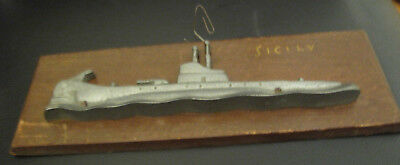 OLD TRENCH ART ALUMINUM BOAT WOOD PLAQUE SICILY WW ll ??