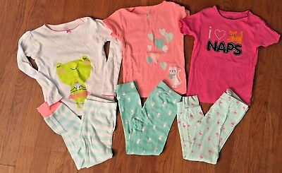 Girls Carters Spring/Summer/Fall Pajama Lot (6 items), Size 4T FREE SHIP