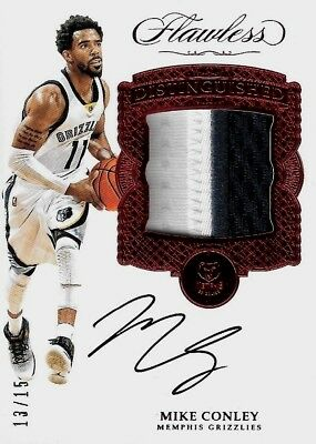 2016-17 PANINI FLAWLESS BASKETBALL Mike Conley Grizzlies Ruby Patch Auto /15