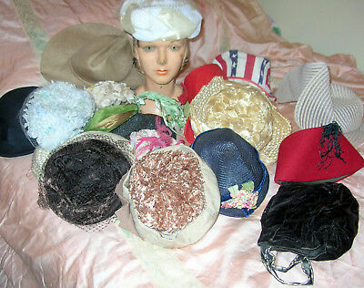 Vintage Hat Lot Victorian-60's Pillbox Veils Headband Velvet Bonnet Straw.22 PCS