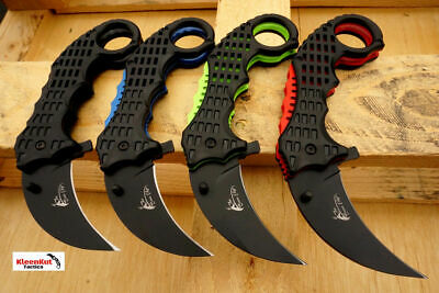 "7.5"" Tactical Spring Assisted Fast Open Karambit Ball Bearing Pocket Knife NEW"