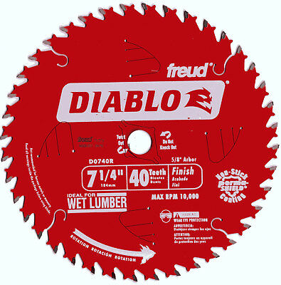 """Freud D0740R 7-1/4"""" x 40 Tooth Diablo Finish Saw Blade Made in Italy FREE SHIP!!"""