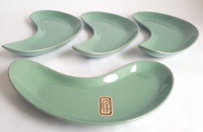 Vintage Denby 'Manor Green' Kidney Shaped Plate / Dish x 4