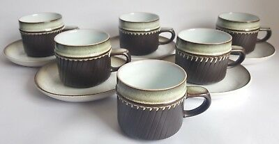 Vintage Denby 'Rondo' Cups & Saucers x 5 + Extra Cup