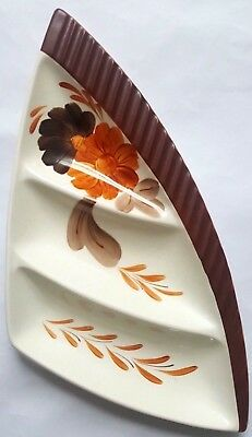 Vintage Shorter & Son Hand Painted Three Sectioned Triangular Dish