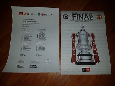 1 x 2018 FA CUP FINAL CHELSEA v MANCHESTER UNITED OFFICIAL TEAMSHEET
