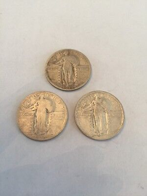 Lot of 3 Standing Liberty 25 Cent Quarters 90% Silver