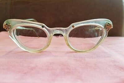 Vintage Spectacles Eye Glasses Clear Lucite Cat Eye Frames 1950s