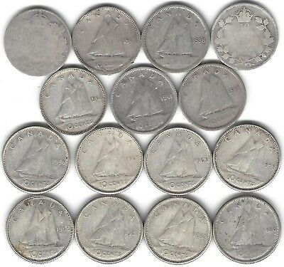 15x Canada Silver 10 cents dime coins key dates 1938 1941 1947 & King George V