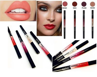 OMBRE Technic Lip Liner Pencil Matte Lipstick Two Tone Dark and Light Shades NEW