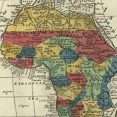 Africa Men Eaters named 1808 scarce Dublin made old map original hand color