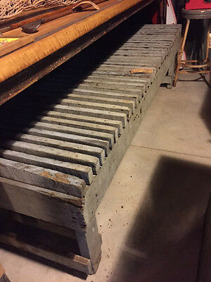 large vintage industrial wood bench from foundry