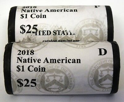 Coin Rolls 2018 Native American Dollar $1 Coin - P & D - US Mint Official - AS18