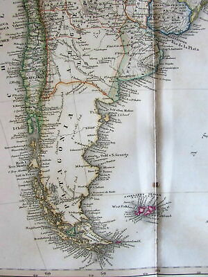 South America- Chile Patagonia Uruguay Argentina 1860 Stulpnagel scarce old map