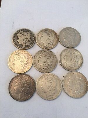 9 US Silver Morgan Dollar coins, mixed condition And Dates