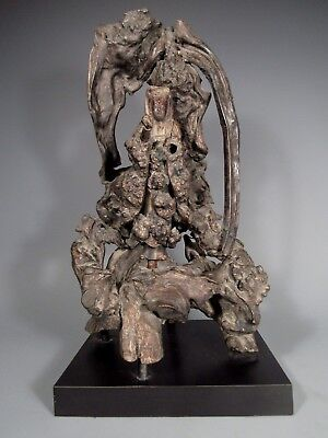 Fine Old China Chinese Rootwood Carved Guanyin Kwanyin ca. 19th century