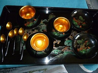Vintage Japanese Asian lacquered cup & saucers, teaspoons, and tray -gold