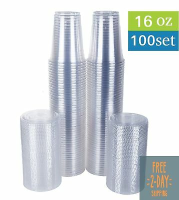 Clear Plastic Cups with Flat Lids 100 Count 16-Ounce Disposable Party Drink SALE
