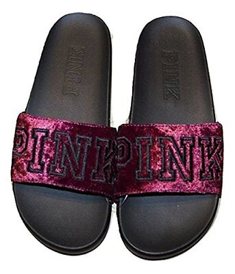 a587a5ba6473d VICTORIA'S SECRET PINK Velvet Single Strap Slides Sandals Large Ruby NWT