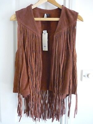 Topshop Leather Suede Fringed Waistcoat Size 14
