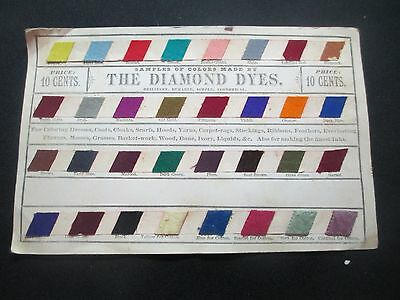 """c1900 THE DIAMOND DYES SAMPLE OF COLORS SHEET  32 COL0RS 5X8"""""""