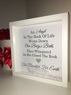 MEMORY BOX FRAME For Baby Angel, Bereavement Gift Our Baby\'s Birth ...