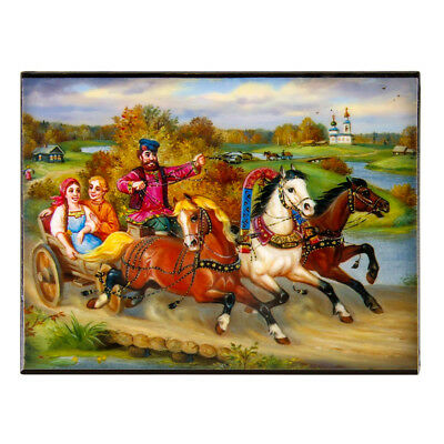 """Summer Troika Keepsake Lacquer Box with Russian Themed Print 3x4"""" Palekh Style"""