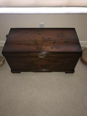 Antique Large Wooden Treasure Storage Trunk Blanket Chest Vintage Style
