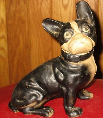 Antique Hubley Cast Iron French Bulldog Dog Door Stop