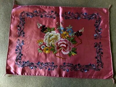 "Gorgeous Chinese Pink Pillowcase Silk Hand Embroidery Floral Motif 24"" x 17"""