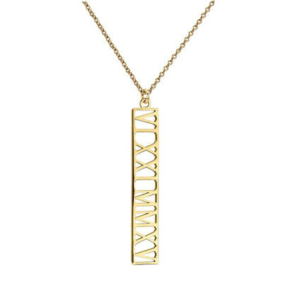 "Personalized 1.5"" Vertical Roman Numerals Necklace in Yellow Gold Plated Silver"